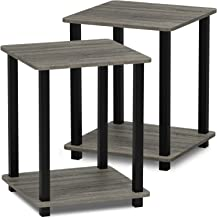 Furinno 12127GYW/BK Simplistic End Table, French Oak Grey/Black