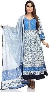BIBA Blue Anarkali Cotton Suit Set
