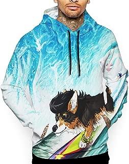 Go KJ Unisex Space Corgi Surfing Hoodies Casual Pullover Hood Jackets Sweatshirt