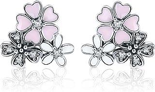 Pendientes de plata de ley 925 con diseño de margaritas poéticas y flor de cerezo esmaltado rosa con circonita cúbica tran...