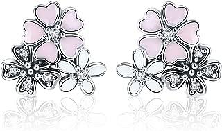Beauty Cherry Blossoms Earrings 925 Sterling Silver Sakura Earrings for Girls and Lady