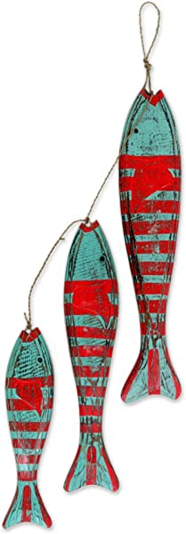 NOVICA Animal Themed Hand Carved Albesia Wood Hanging Fish Home Accent With Agel Grass Cord Green And Red Fish