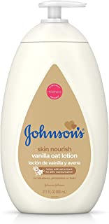 Johnson's Baby Moisturizing Lotion with Nourishing Vanilla & Oat Extract for Dry Skin, Hypoallergenic and Dermatologist-Tested, 27.1 fl. oz