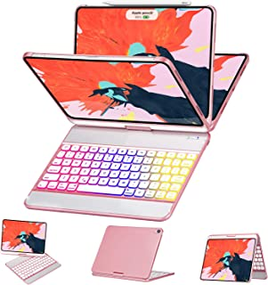 iPad Pro 11 Case with Keyboard - 360 Rotation 180 Flip - 17 Color Backlit - Auto Sleep/Wake - Wireless Keyboard for New iPad Pro 11 Inch 2018 - Support Apple Pencil Charging - Rose Gold