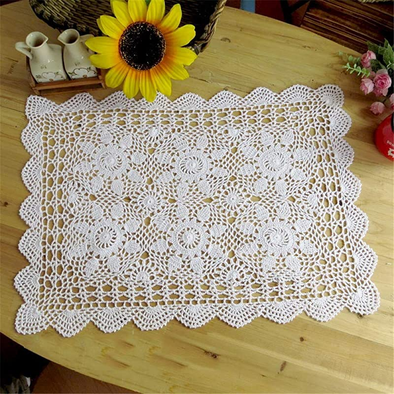 Saideke Home Oblong Cotton Lace Crocheted Doilies 2pc Set White 15 X 23 Inch
