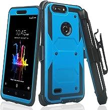 Galaxy Wireless Compatible for ZTE ZFive G LTE Z557BL / ZFive C Z558VL / Avid 4 /Fanfare 3/Blade Vantage/Tempo X/Tempo Go, Belt Clip Holster [Built in Screen Protector] Full Body Case - Blue