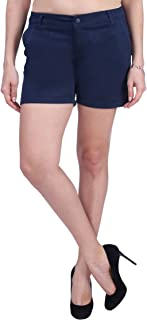 KVL Cotton Casual Shorts for Women-Blue
