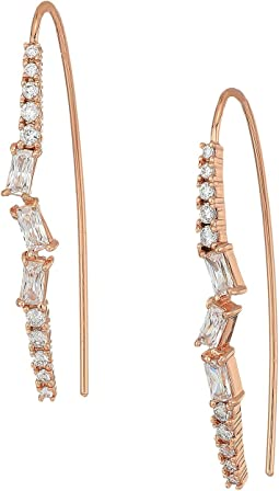 Betsey Johnson Blue by Betsey Johnson Rose Gold and CZ Stone Linear Earrings