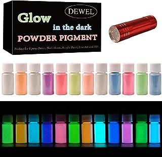 DEWEL 12 Color Pack Glow in The Dark Pigment Powder - 20g Each, 240 g Total