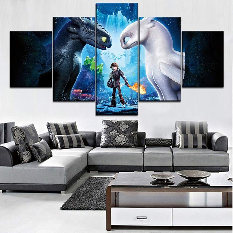 JSBVM 5 5 5 Panel Wandmalerei Segeltuch HD-Druck Drachenzähmen leicht gemacht Bilder Modular Poster Für Wohnzimmer Wohnkultur B07P65JGSN 61061b