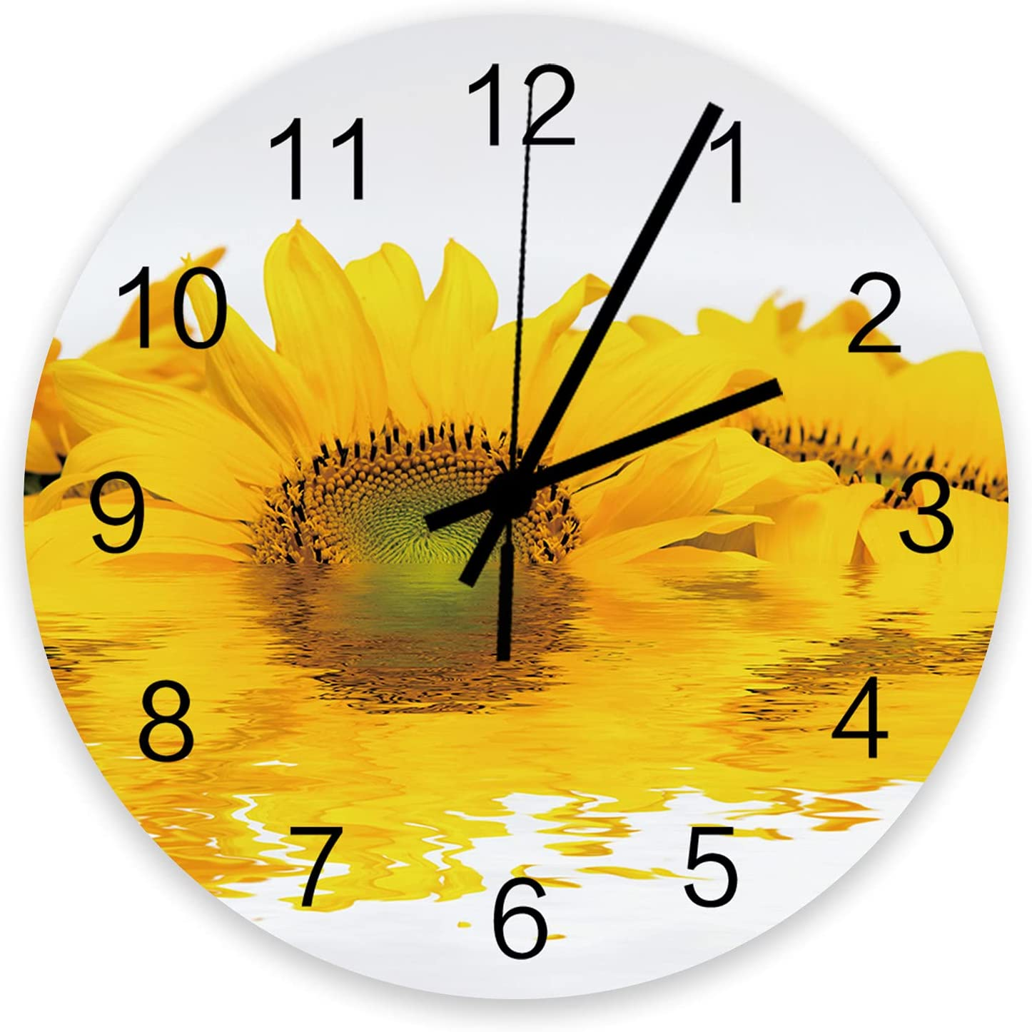 Home Decor 12 Inch Round Wooden Sun Close-up Clock Fresh Yellow 67% Ranking TOP7 OFF of fixed price