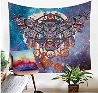 Jiamingyang Owl Dream Catcher with Feathers Tapestry Bohemia Wall Hanging Indian Dorm Decor for Living Room Bedroom (Owl, Small/51 X59)
