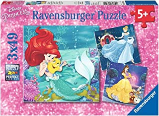 Ravensburger 09350 Disney Princesses - 3 X 49 Piece Jigsaw Puzzles - Value Set of 3 Puzzles in a Box – Every Piece is Unique, Pieces Fit Together Perfectly,Multi