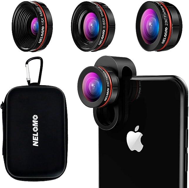 Kit de lentes para smartphone HD - Kit de lentes para iPhone X / 8 / 7plus / 7 Samsung S8 + / S8 / y otros (lente de ojo de pez de 230 °lente de 0.65 x Super Gran Angular15 x lente Super Macro)