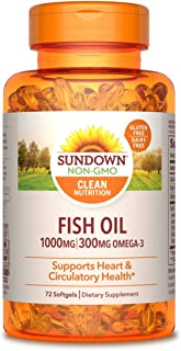 Sundown Fish Oil 1000 mg, 72 Softgels (Packaging May Vary)