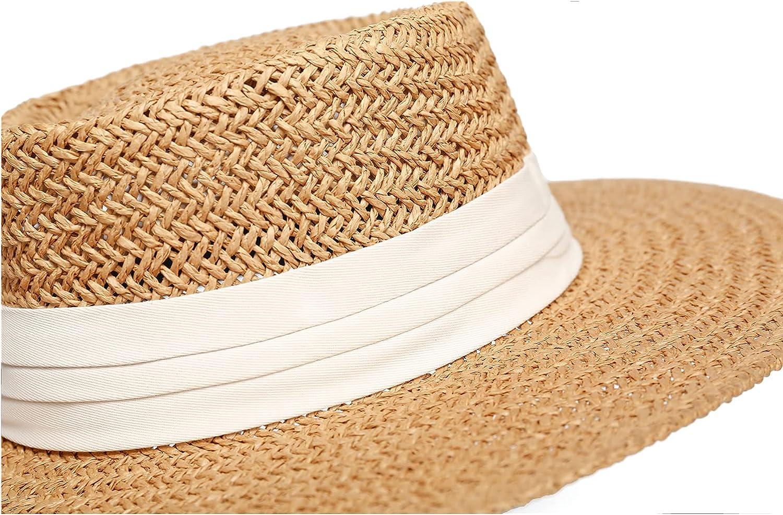 JOLLQUE Straw Hats for Women, Panama Hat Fedora Summer Beach Sun Hat