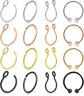 QWALIT Fake Septum Nose Ring Face Nose Hoop Nose Ring Non Pierced Clip Small Helix Tragus Earrings Hoop Moon Faux Body Piercing Jewelry for Women Men