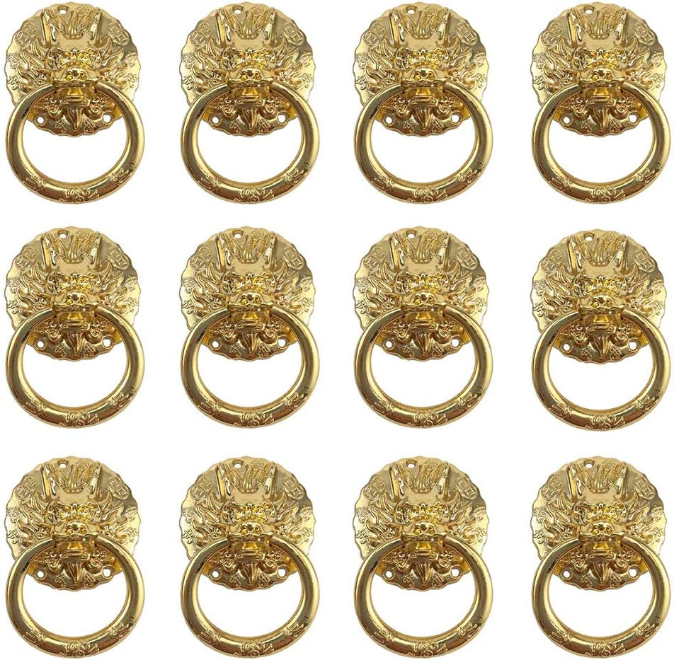 Geenite Antique Chinese Dragon Head Handle Knobs Dresser Drawer Cabinet with Drawer Ring Zinc Alloy Furniture Pull Handle Decorate Home Improvement 12 pcs (Golden)