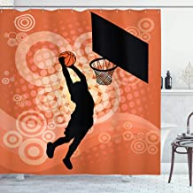 Ambesonne Basketball Shower Curtain, Basketball Player Silhouette Athlete Competition Championship, Cloth Fabric Bathroom Decor Set with Hooks, 84 Long Extra, Orange Black