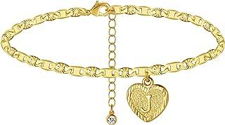 خلخال wowshow طلا با روکش طلا 14K با حلق آویز قلب تخت مارینا برای دختران دختر A-Z