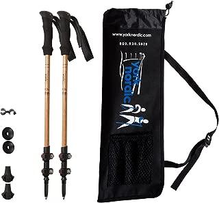 York Nordic Walking Poles - Bamboo & Carbon Fiber Poles - 2 Pack - 6.8 oz Ultralight & Collapsible Trekking Poles - Flip-Lock, Comfort Grips, Tungsten Tips