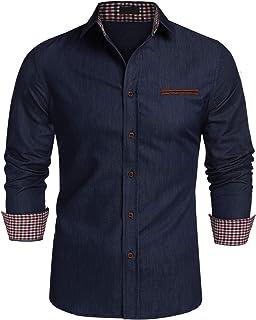 قمصان دينيم كاجوال بازرار كاملة واكمام طويلة بلون واحد للرجال من جينيدو
