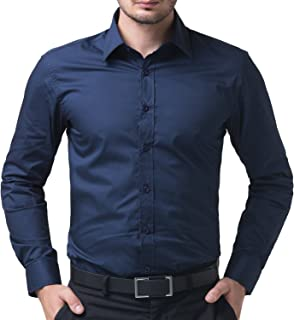 BEING FAB Men's Solid 100% Cotton Regular Fit Casual Navy Blue Shirt
