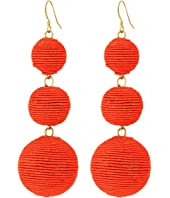 Triple Graduated Coral Thread Wrapped Balls Fishhook Top Ear Earrings