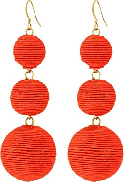 Kenneth Jay Lane Triple Graduated Coral Thread Wrapped Balls Fishhook Top Ear Earrings
