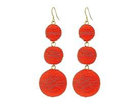 Triple Graduated Coral Thread Wrapped Balls Fishhook Top Ear Earrings