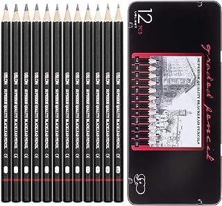 ست مداد طراحی حرفه ای - 12 قطعه مداد طراحی نقاشی (8B - 2H) مداد سایه گرافیت برای مبتدیان