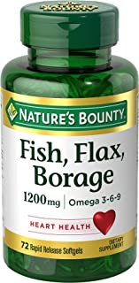 Nature's Bounty Fish, Flax, Borage 1200 mg Omega 3-6-9, 72 Softgels