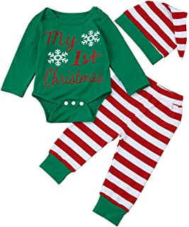 Clearance!! My 1st Christmas 3Pcs Newborn Infant Baby Boy Girl Xmas Romper Tops+Striped Pants+Hat Outfits Set Gifts