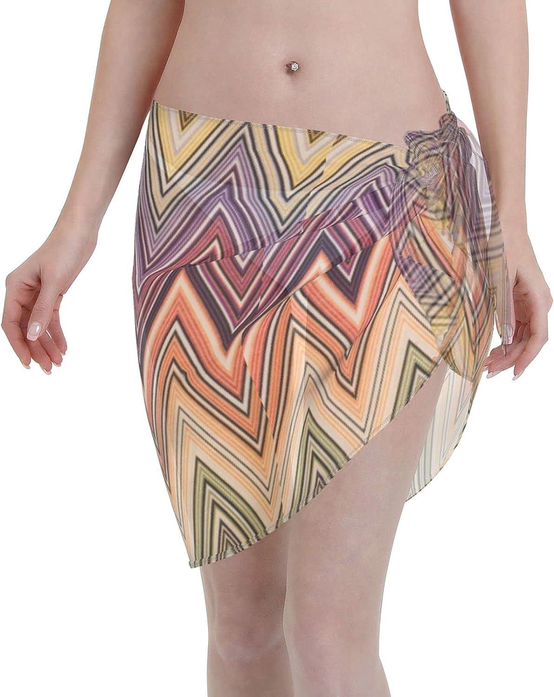 Reindeer Horn Women Short Zig Zag Stripes Sarongs Cover Ups Beach Chiffon Sarong Bikini Swimwear Black