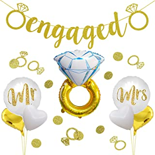 Engagement Party Balloons Decorations Engaged Banner Gold Ring Confetti Foil Balloons Set for Engagement Bachelorette and ...