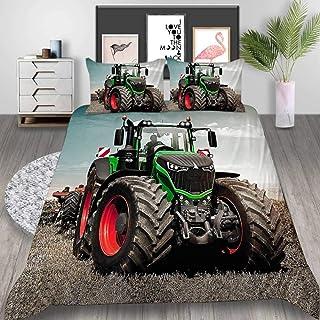 Aaooseso® Parures De Lit 2 Personnes Enfant Fille Garçon Housse De Couette 3D Tracteur Vert 240 X 220 Cm Parure De Couette...