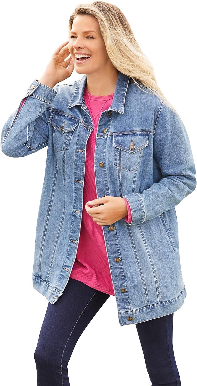 Woman Within Women's Plus Size Long Stretch Denim Jacket