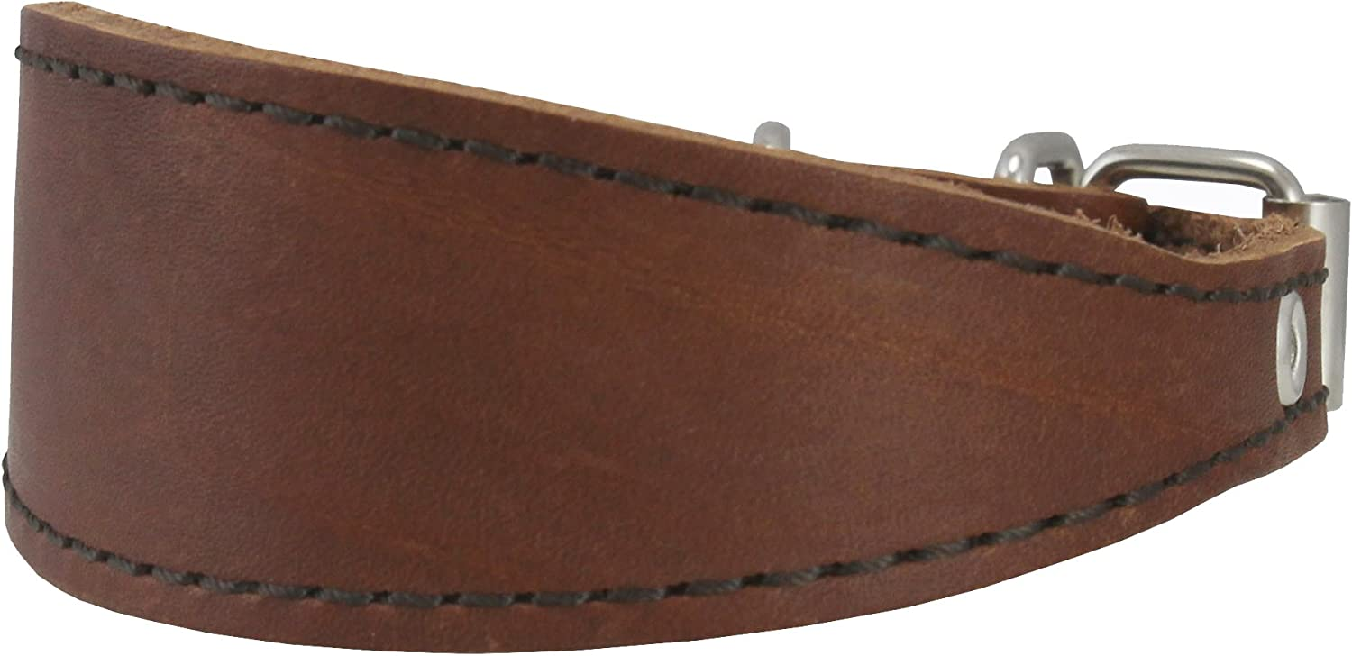 Brown Real Leather Tapered Dog Collar 1,5  Wide, Fits 8.5 10.5  Neck, Small, Dachshund