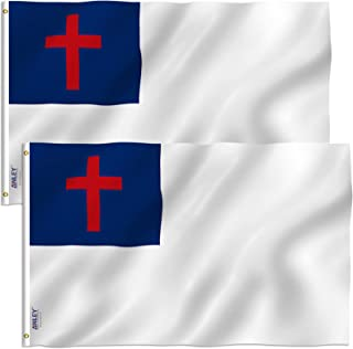 Anley Pack of 2 Fly Breeze 3x5 Foot Christian Flag - Vivid Color and UV Fade Resistant - Canvas Header and Double Stitched - Religious Flags Polyester with Brass Grommets 3 X 5 Ft
