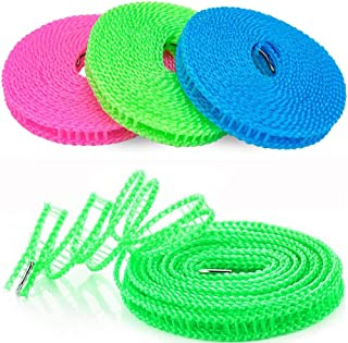 para exteriores interiores casa viajes cuerda de viaje cuerda de tender ajustable azul, 3 m 3 cuerdas de nailon resistentes al viento para ropa de exterior