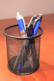 Asier Black Single Round Mesh Metal Pen Pencil Tool Holder Table Desk Organizer for Home Office