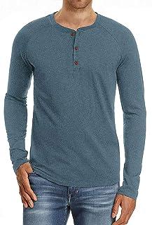 Collarless Henley T Shirt Mens Raglan Long Sleeve Casual Lightweight Grandad Shirts Classic 3 Button Tops