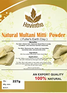 Natural Fuller's Earth, 8 oz,(The Indian Clay),Multani Mitti Powder Product of Havintha,227g