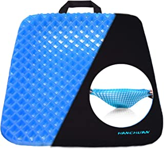HANCHUAN® Gel Seat Cushion Coccyx Seat Support All Gel Cushion Air Circulation and Advanced Elastic Comfort Gel Sitter Cushion Ergonomic Designed for Office Chair, Car Seat and Wheelchair