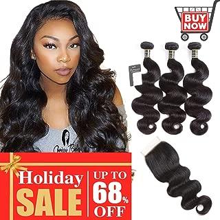 Puddinghair Body Wave 3 Bundles with Closure Brazilian Human Hair Bundles with Lace Closure Natural Black Unprocessed Virgin Hair Bundles with Closure(10