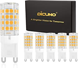 DiCUNO G9 LED Bulb 4W (40W Halogen Equivalent), 450LM Warm White 3000K, 100-240V G9 Ceramic Base Non-dimmable Light Bulb for Ceiling Light, Under Cabinet (6-Pack)