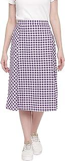 Fabnest Womens Handloom Cotton Purple Gingham Panelled Skirt with Side Slit.