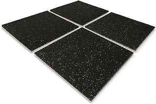 uyoyous 4 Pcs Solid Rubber Gym Mat Tiles, 25mm Interlocking Flooring Mat TileS, 50 x 50 cm Heavy Duty Exercise protective ...
