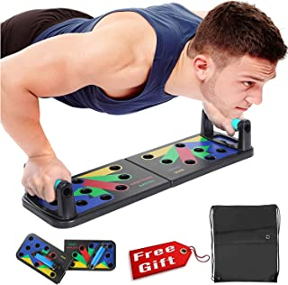 Newest Push Up Board 11 in 1 Collapsible Portable Fitness Exercise Workout Push-up Tools Pushup Stands Come with Workout Schedule Portable Backpack Non-Slip Stickers