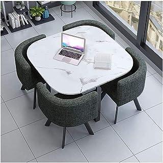 Mesa de comedor Juego de muebles Mesas de recepción nórdicos y Sillas Mesa redonda de 80 cm de la sala de recepción de ocio mesa de la cocina Mesa de comedor y sillas 4 Algodón La negociación de negoc